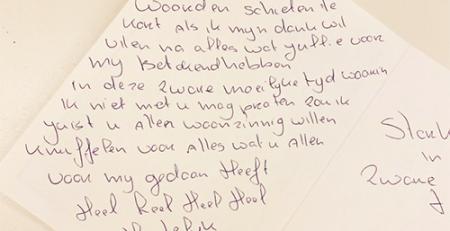 bedankje-patient Mohs Klinieken